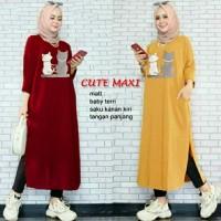 Maxi Cute L long tunik muslim tunik kaos tunik wanita tunik panjang