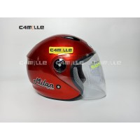 HELM BMC MILAN SOLID RED MAROON HALF FACE