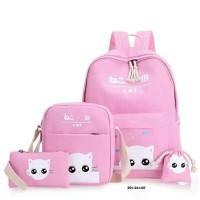BRCAB Tas Ransel Backpack Sekolah Anak Perempuan Cewek 4 in 1, CATTY