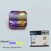 batu Ametrine dua warna asli + memo, batu kesehatan, pelindung