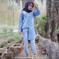 Baju Tunik Atasan Kemeja Wanita Blouse Busui Baju Muslim - DENIM TUNIC - Dark Blue