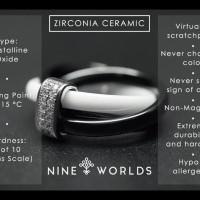 Nine Worlds Ring Cincin Silver 925 Dan Zirconia Ceramic Crystal