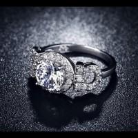 Cincin Lapis Emas Putih Silver Berlian Cubic Zirconia Batu Bulat Br150