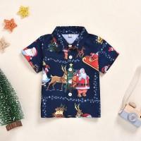Cantik Kaos T-Shirt Casual Anak Laki-laki Lengan Pendek Gambar Natal