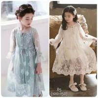 Dress Lace Lengan Panjang / Gaun Pesta Anak Perempuan Import