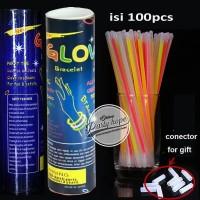 Glowing stick / glow stik / gelang pospor glow in the dark isi 100 pcs