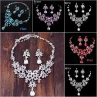 set perhiasan pesta pernikahan kalung anting aksesoris pengantin - Putih