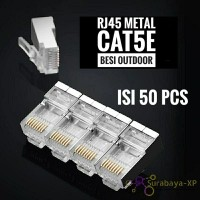 Konektor RJ45 50PCS CAT5E Metal Plat Besi STP FTP Outdoor