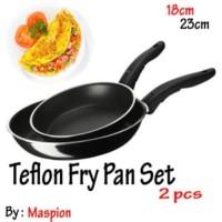 MASPION Teflon Fry Pan Set 2in1 18cm Dan 23cm - Frypan Wajan Murah