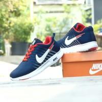 Sepatu Sport Casual Pria Nike Airmax Flyknit Men Biru Navy Santai