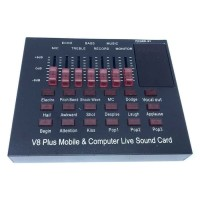 Mixer Bluetooth USB External Soundcard Live Mic Headset V8 Plus
