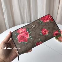 Coach Signature Jumbo Floral Zip Wallet Brown Red - Original 100%
