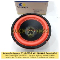 """Speaker Subwoofer 8 inch Legacy Energy 8"""" LG 838-2 Double Voice Coil"""