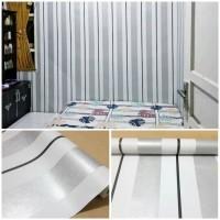 Grosir Murah Walpaper Sticker Dinding Abu abu Garis putih Hitam 10 M