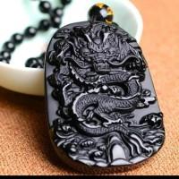 Kalung Liontin Black Jade motif Naga