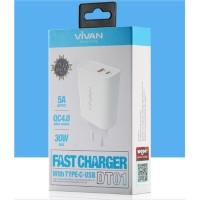 batok kepala Charger Vivan DT01 Quick CHARGING TYPE C 30W