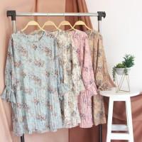 Premium Tunik Plisket Ikat Motif Floral (217)