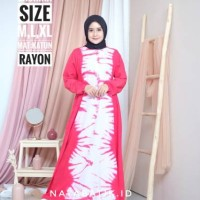 Dress Batik Ikat Jumput Tiedye Pelangi LONGDRES RAYON SABRINA