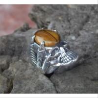 Gagang cincin motif tengkorak tanpa batu grab it fast