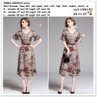 AB538415 Midi Mini Dress Brukat Vintage Gaun Pesta Wanita Korea Import