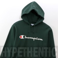 Champion Script Logo Dark Green Hoodie Original / Jaket Sweater Hijau - Hitam, L