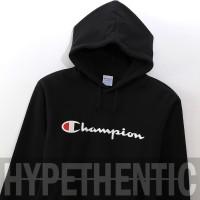Champion Script Logo Black Hoodie Original / Sweatshirt Jacket / Jaket