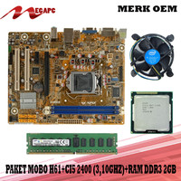 PROMO Paket Mainboard 1155 H61 Ddr3 + Core i5 2400 + Fan + Ram DDR3 2G