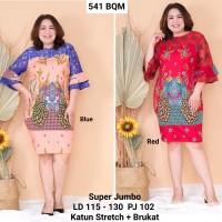 Batik Dress Kombinasi Brukat Warna Merah