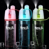 Botol Minum New Button Spray 600ml push water bottle Sport New-B