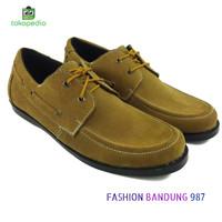 sepat flat shoes pria model tali bahan kulit asli