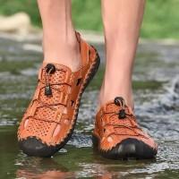 Sepatu Sandal Casual Pria Bahan Kulit Asli Lembut Ukuran Besar
