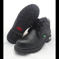 Terlaris Sepatu Safety Boot Kulit Asli Boyken Fullblack Ujung Besi. -