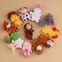 Finger Plush Toys Child Baby Favor 12Pcs Chinese Zodiac Soft Animal Pu