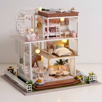 Kids Toys Diy Dollhouse Assemble Wooden Miniatures Doll House Furnitur