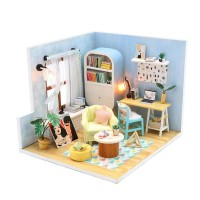 Wooden Doll House Furnitures Kids DIY Miniatures 3D Dollhouse with LED