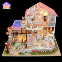 Kids Wooden Miniature Dollhouse Children DIY Doll House Child Handmade