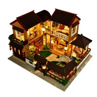 HIINST Toys For Kids DIY Wooden Simulated Doll House LED Light Model F