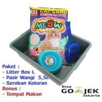 Super Paket Tempat Kotoran Kucing (Litter Box L, Skop dan Pasir Wangi)