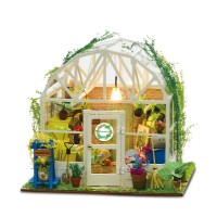 Kids DIY Dollhouse Toy Wooden Miniature Furniture Kit Mini Green House