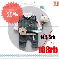 DISKON Baju Setelan Anak Laki Import Kemeja Pink Vest Abu Lion 7th