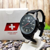 Swiss Army Analog Jam Tangan Pria Hitam Tali Canvas HC-1181M Original