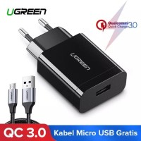 Charger Ugreen Qualcomm QC 3.0 Original Bonus Kabel Micro 100 cm Fast