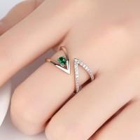 Cincin wanita zircon rose gold perhiasan crystal fashion ring