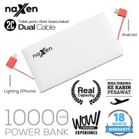 Naxen Slim Power Bank Real Capacity 10000mAh 2 USB Port with Kabel - P
