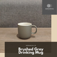 Brushed Grey Drinking Mug Gelas Keramik Melamin Microwave Safe