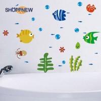 Terbaik Stiker Dinding Decal Desain Tropical Fish Bubble untuk Kamar