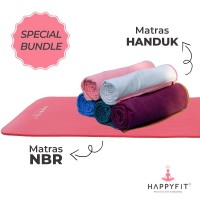 HAPPYFIT Special Bundle Matras NBR 10MM(+Strap) + Yoga Mat Grip Towel