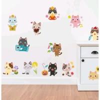 Stiker Dinding / Kaca / Wall Sticker (12 Kucing Lucu Warna-Warni)