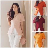 Christy Atasan Top Blouse Fashion Basic Scuba Premium Good Quality - Merah