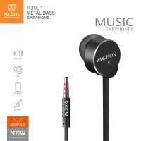 Handsfree headset ZAGBOX Metal Bass (KJ-901) clear sound stereo - Hitam